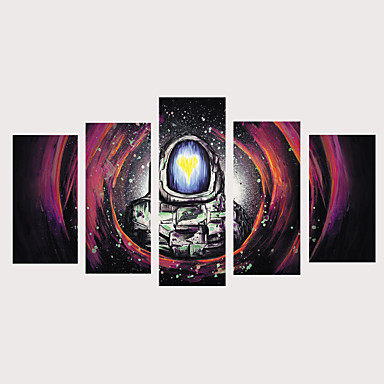billige Trykk-Trykk Valset lerretskunst Strukket Lerret Trykk - fantasi Celestial Vintage Moderne Fem Paneler Kunsttrykk
