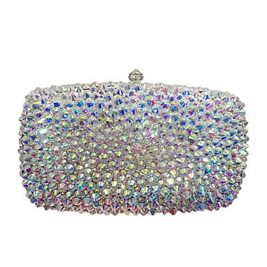 abordables Sacs-Femme Détail Cristal / Paillettes Alliage Pochette Sacs de soirée en cristal strass Couleur unie Argent / Automne hiver