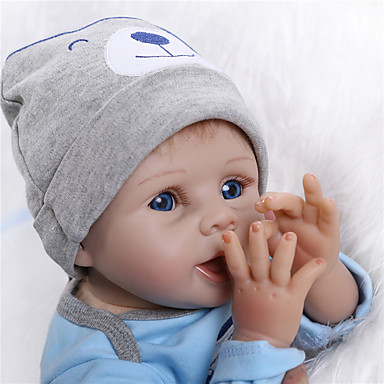 halpa Reborn Dolls-NPKCOLLECTION NPK DOLL Reborn Dolls Reborn Toddler Doll 24 inch Silikoni Vinyyli - elävä Cute Gift Lapsiturvallinen Non Toxic Käsityynyt silmäripset Lasten Unisex / Tyttöjen Lelut Lahja / CE / Levyke
