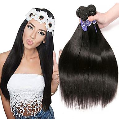 baratos Extensões de Cabelo Natural-3 pacotes Cabelo Malaio Liso 100% Remy Hair Weave Bundles Cabelo Humano Ondulado Cabelo Bundle Extensões de Cabelo Natural 8-28 polegada Natural Tramas de cabelo humano Sem Cheiros Sedoso Melhor