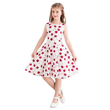 e79a3a87528b Kids Girls' Vintage / Cute Fruit Print Sleeveless Knee-length Cotton Dress  White