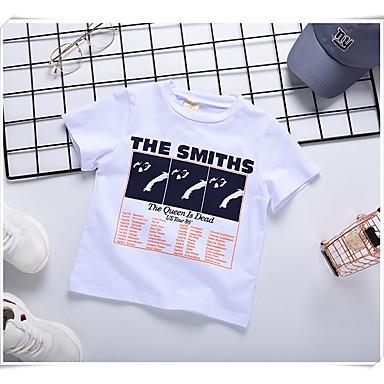 baratos Camisas para Meninos-Infantil Para Meninos Básico Estampado Estampado Manga Curta Algodão Camiseta Branco