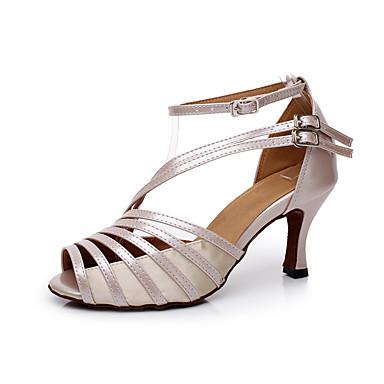 levne Taneční boty-Dámské Boty na latinskoamerické tance / Boty na salsu PU kůže / Satén Sandály Přezky Na zakázku Obyčejné Taneční boty Šedá / Akt / Černá / EU41