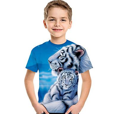 baratos Camisas para Meninos-Infantil Bébé Para Meninos Activo Básico Estampado Estampado Manga Curta Camiseta Azul Claro