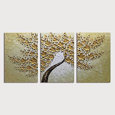 Pintura a Óleo Pintados à mão - Floral / Botânico Modern Incluir moldura interna / 3 Painéis