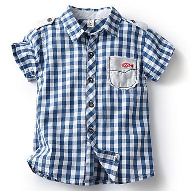 baratos Camisas para Meninos-Infantil Para Meninos Básico Xadrez Estampado Manga Curta Camisa Vermelho