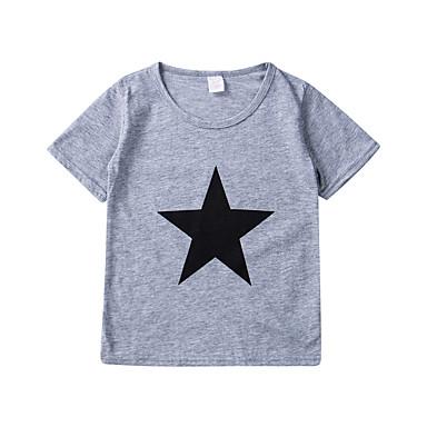 baratos Camisas para Meninos-Infantil Bébé Para Meninos Activo Básico Geométrica Estampado Manga Curta Algodão Camiseta Azul Marinha