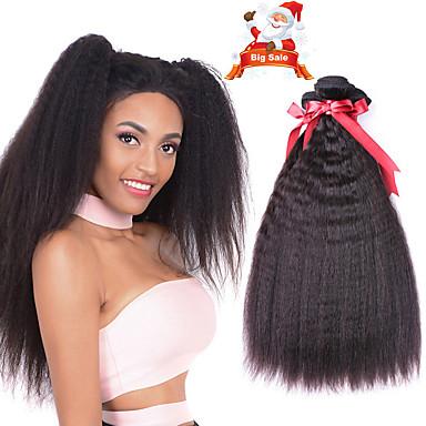 voordelige Weaves van echt haar-6 bundels Indiaas haar KinkyRecht 100% Remy haarweefselbundels Menselijk haar weeft Bundle Hair Een Pack Solution 8-28 inch(es) Natuurlijke Kleur Menselijk haar weeft nieuwe collectie Hot Sale