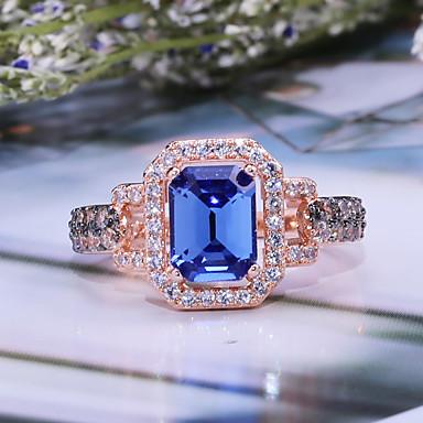 voordelige Herensieraden-Heren Dames Bandring Ring Kubieke Zirkonia 1pc Goud Rose Edelsteen & Kristal Koper Roos verguld Geometrische vorm Luxe Vintage Feest Lahja Sieraden Klassiek Cool