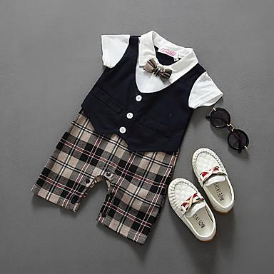billige BabyGutterdrakter-Baby Gutt Aktiv / Grunnleggende Ensfarget / Fargeblokk Kort Erme Bomull Kjeledress og jumpsuit Svart