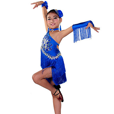 26e20a547 Latin Dance / Kids' Dancewear Dresses Girls' Performance Elastane Tassel /  Crystals / Rhinestones Sleeveless Dress #07364975