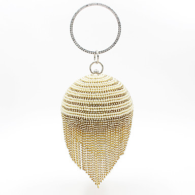 billige Vesker-Dame Krystalldetaljer / Dusk polyester / Legering Aftenveske Rhinestone Crystal Evening Bags Gull / Svart / Sølv / Høst vinter