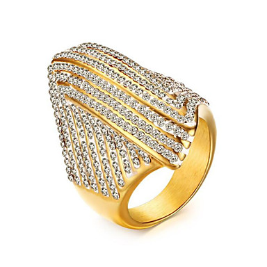 cheap Rings-Women's AAA Cubic Zirconia Classic Ring Titanium Steel Joy Stylish Ring Jewelry Gold For Party Daily 7 / 9