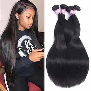 billige Parykker af ægte menneskerhår-4 pakker Brasiliansk hår Lige 100% Remy Hair Weave Bundles Menneskehår, Bølget Bundle Hair Hårforlængelse af menneskehår 8-28 inch Naturlig Farve Menneskehår Vævninger Lugtfri Glat Sej Menneskehår