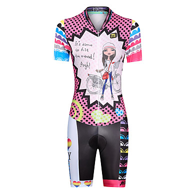 Women's Short Sleeve Triathlon Tri Suit - Pink Dots Rainbow Cartoon Bike UV Resistant Breathable Moisture Wicking Quick Dry Reflective Strips Sports Lycra Dots Triathlon Clothing Apparel / Stretchy
