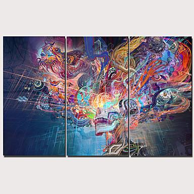 billige Trykk-Trykk Strukket Lerret Trykk - Abstrakt Tradisjonell Moderne Tre Paneler Kunsttrykk
