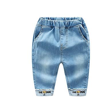 baratos Calças para Meninos-Infantil Para Meninos Básico Moda de Rua Sólido Estampado Retalhos Estampado Algodão Jeans Azul