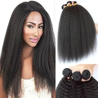 voordelige Weaves van echt haar-3 bundels Braziliaans haar YakiRecht Onbehandeld haar Menselijk haar weeft Bundle Hair Een Pack Solution 8-28 inch Natuurlijke Kleur Menselijk haar weeft Pasgeboren Cosplay Hot Sale Extensions van