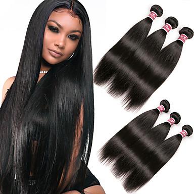 voordelige Weaves van echt haar-6 bundels Maleisisch haar Recht Niet verwerkt Menselijk Haar 100% Remy haarweefselbundels Helm Menselijk haar weeft Bundle Hair 8-28 inch(es) Zwart Natuurlijke Kleur Menselijk haar weeft Geurvrij
