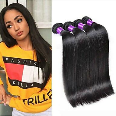 baratos Extensões de Cabelo Natural-4 pacotes Cabelo Brasileiro Liso 100% Remy Hair Weave Bundles Cabelo Humano Ondulado Extensor Cabelo Bundle 8-28inch Côr Natural Tramas de cabelo humano Fantasias Macio Dançando Extensões de cabelo