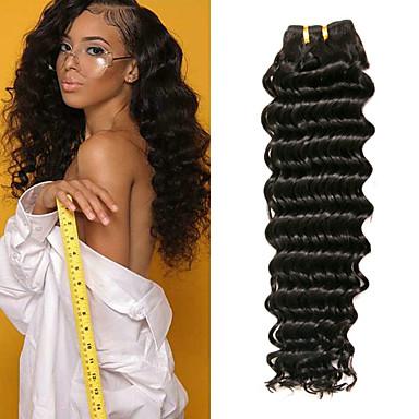 baratos Extensões de Cabelo Natural-3 pacotes Cabelo Indiano Onda Profunda Cabelo Virgem 100% Remy Hair Weave Bundles Peça para Cabeça Cabelo Bundle Extensões de Cabelo Natural 8-28 polegada Côr Natural Tramas de cabelo humano Sem