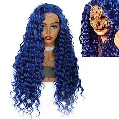povoljno Perike i ekstenzije-Sintetičke perike Prednja perika od sintetičkog čipke Kovrčav Afro Kinky Jenner Stil Srednji dio Lace Front Perika Plava Sintentička kosa 26inch Žene Klasični sintetički Gradijent boje Plava Perika