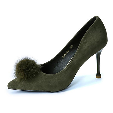 povoljno Ženske cipele-Žene Koža Proljeće Cipele na petu Stiletto potpetica Pom-pom Crn / Vojska Green