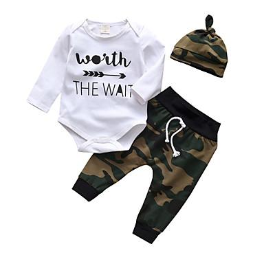 billige Sett med Drenge babyklær-Baby Drenge Afslappet / Aktiv Trykt mønster Trykt mønster Langærmet Normal Bomuld Tøjsæt Hvid