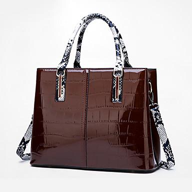 povoljno Zmijska koža-Žene Patent-zatvarač Tote torbica Patent Leather Zmijska koža Red / Crvena / Braon / Jesen zima