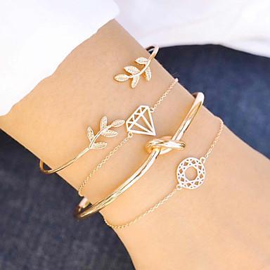 abordables Bracelet-4pcs Parure Bracelet Femme Thème floral Nœud Européen Bracelet Bijoux Dorée pour Fête scolaire Plein Air Vacances