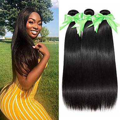 voordelige Weaves van echt haar-3 bundels Braziliaans haar Recht 100% Remy haarweefselbundels Menselijk haar weeft Bundle Hair Extentions van mensenhaar 8-28 inch Natuurlijke Kleur Menselijk haar weeft Geurvrij Zacht Beste kwaliteit