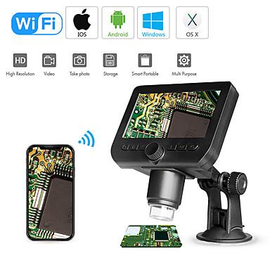voordelige Microscopen & Endoscopen-wifi digitale microscoop 4,3-delige schermweergave 720p 50x-1000x vergroting 1080p fhd 2.0 mp 8 led voor Android en ios tablet pc