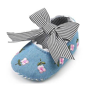 voordelige Babyschoenentjes-Meisjes Comfortabel / Eerste schoentjes Katoen Platte schoenen Wit / Blauw / Roze Lente