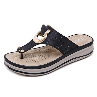 hesapli Kadın Terlikleri-Kadın's Ayakkabı PU Yaz Vintage / Günlük Terlik & Flip-flops Dolgu Topuk Açık Uçlu Günlük / Kumsal için Siyah / Badem / Haki