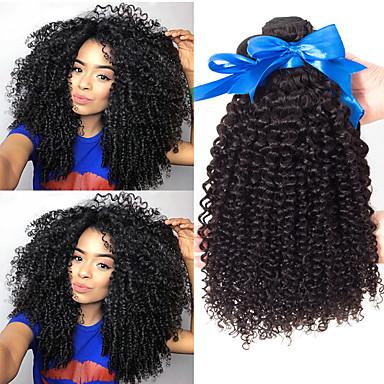baratos Extensões de Cabelo Natural-3 pacotes Cabelo Indiano Kinky Curly Cabelo Virgem 100% Remy Hair Weave Bundles Peça para Cabeça Cabelo Bundle Extensões de Cabelo Natural 8-28 polegada Natural Tramas de cabelo humano Fácil de