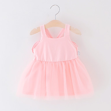 2472dce1925 Baby Girls  Active Solid Colored Backless   Mesh Sleeveless Above Knee Polyester  Dress Blushing Pink
