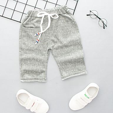 baratos Calças para Meninos-Infantil Para Meninos Activo Básico Listrado Estampa Colorida Com Cordão Algodão Calças Cinzento