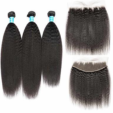 baratos Extensões de Cabelo Natural-4 pacotes Cabelo Brasileiro Liso Kinky Liso Cabelo Humano Trama do cabelo com Encerramento 8-28 polegada Natural Tramas de cabelo humano 100% Virgem Não processado Extensões de cabelo humano Mulheres