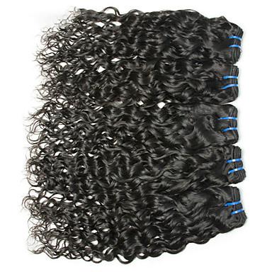 baratos Extensões de Cabelo Natural-6 pacotes Cabelo Brasileiro Onda de Água Não processado Cabelo Natural Cabelo Humano Ondulado Cabelo Bundle Um Pacote de Solução 8-28 polegada Côr Natural Tramas de cabelo humano Criativo Macio