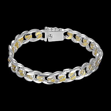 voordelige Herensieraden-Heren Armbanden met ketting en sluiting Wide Bangle Cut Out Kostbaar Stijlvol Messinki Armband sieraden Zilver Voor Dagelijks Werk / Verzilverd