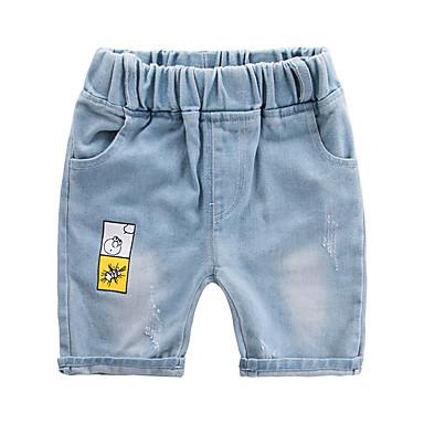 baratos Calças para Meninos-Infantil Para Meninos Activo Básico Sólido Estampa Colorida Algodão Jeans Azul