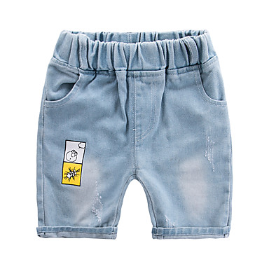 baratos Jeans Para Meninos-Infantil Para Meninos Activo Básico Sólido Estampa Colorida Algodão Jeans Azul