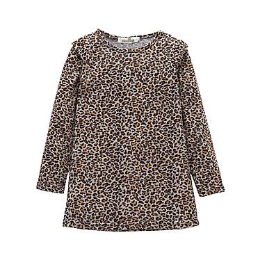 baratos Vestidos para Meninas-Infantil Bébé Para Meninas Básico Estilo bonito Leopardo Manga Longa Altura dos Joelhos Vestido Marron / Algodão