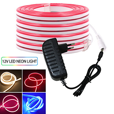 billige LED Strip Lamper-kwb3m fleksible led lysstrimler 2400 leds smd3528 rød / blå / gul søt / neon elektroluminescerende ledning / kuttbar 12 V med strømforsyning 12v 3a