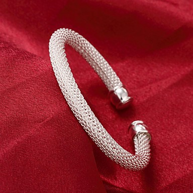 בגדי ריקוד נשים צמידי חפתים יָקָר מסוגנן בסיסי נחושת צמיד תכשיטים כסף עבור יומי עבודה / מצופה כסף