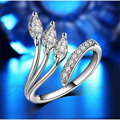 בגדי ריקוד נשים פתח את הטבעת זירקונה מעוקבת 1pc לבן אבני חן וקריסטל נחושת Geometric Shape מסוגנן מתנה יומי תכשיטים גיאומטרי שִׂמְחָה חמוד