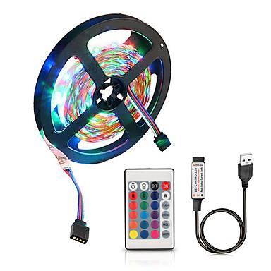 billige LED Strip Lamper-zdm 5v 2m usb drevet smd 120 x 2835 fargeledd lysstrimler med 24 taster ir fjernkontroll for tv bakgrunnsbelysning pc bærbar hjemme dekorasjon