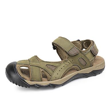 בגדי ריקוד גברים נעלי עור עור קיץ ספורטיבי / יום יומי סנדלים הליכה / נעלי ספורט מים ללא החלקה ירוק / חום בהיר / חום כהה