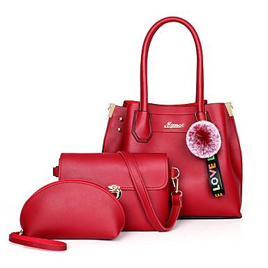 Kadın's Pom pom PU Çanta Setleri Tek Renk 3 Adet Çanta Seti YAKUT / Doğal Pembe / Bej / Sonbahar Kış
