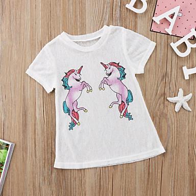 baratos Vestidos para Meninas-Infantil Bébé Para Meninas Desenho Animado Vestido Branco